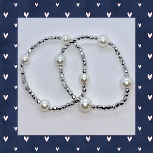 Silver Faceted and White Pearl Bracelet Duo